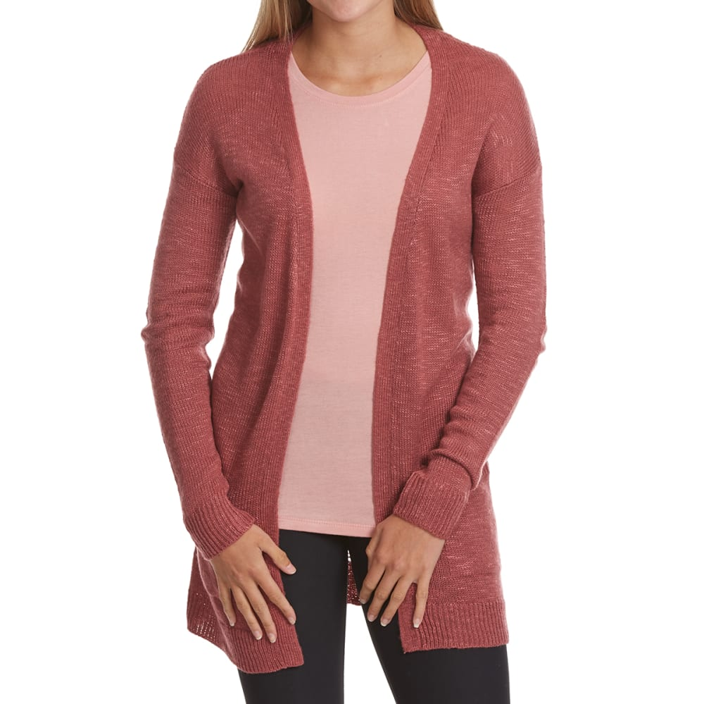 PINK ROSE Juniors' Pointelle Cardigan - BERRY BLUSH
