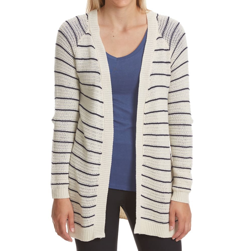 PINK ROSE Juniors' Striped Side Slit Cardigan - RODEO NAVY COMBO