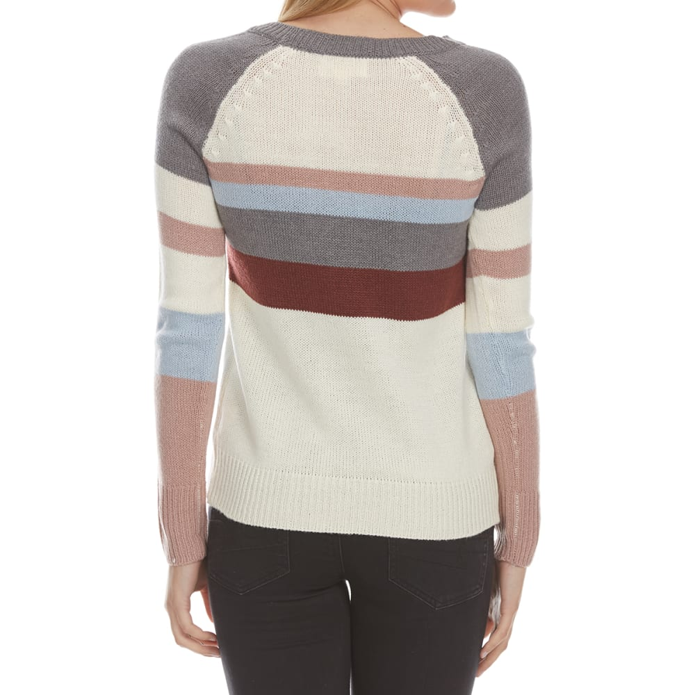 PINK ROSE Juniors' Color-Blocked Long-Sleeve Sweater - GREY COMBO