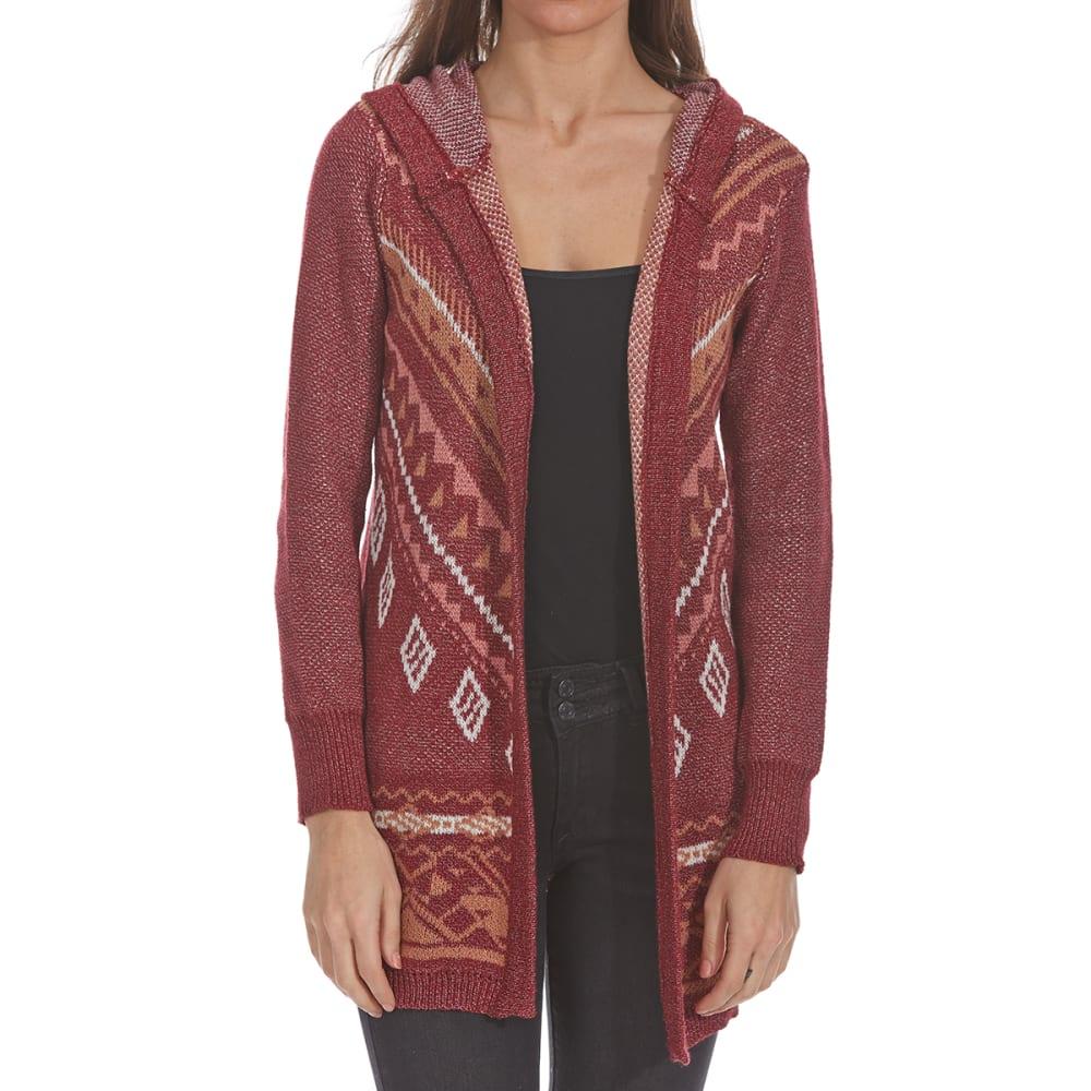 PINK ROSE Juniors' Navajo Hooded Cardigan - WINE COMBO