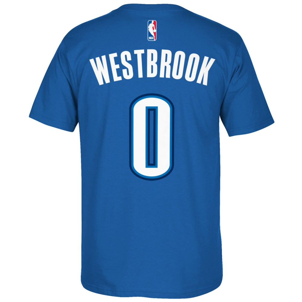 Oklahoma City Thunder Men's Russell Westbrook #0 Name And Number Short-Sleeve Tee - Blue, XL