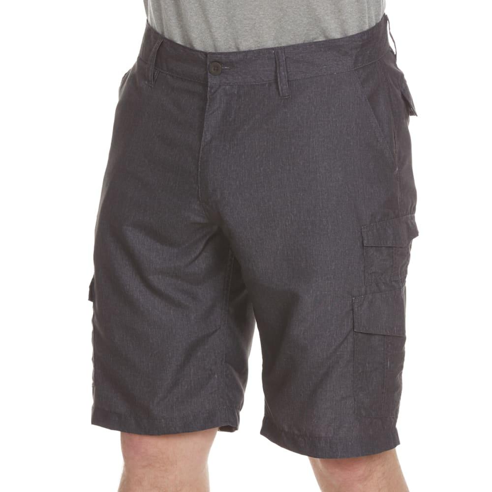 BURNSIDE Guys' Solid Microfiber Shorts with Velcro Pocket - CHAR HTR