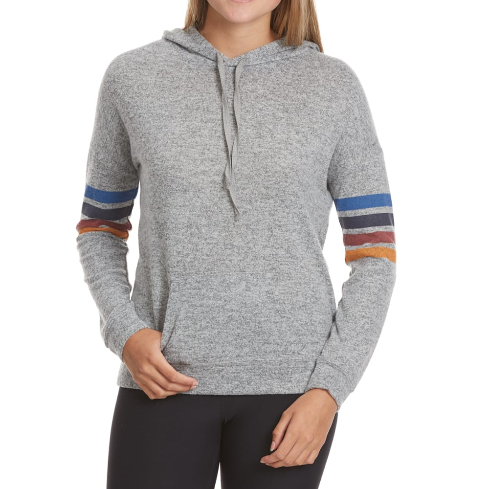 PINK ROSE Juniors' Brushed Hacci Arm Striped Hoodie - MED HTHR GREY