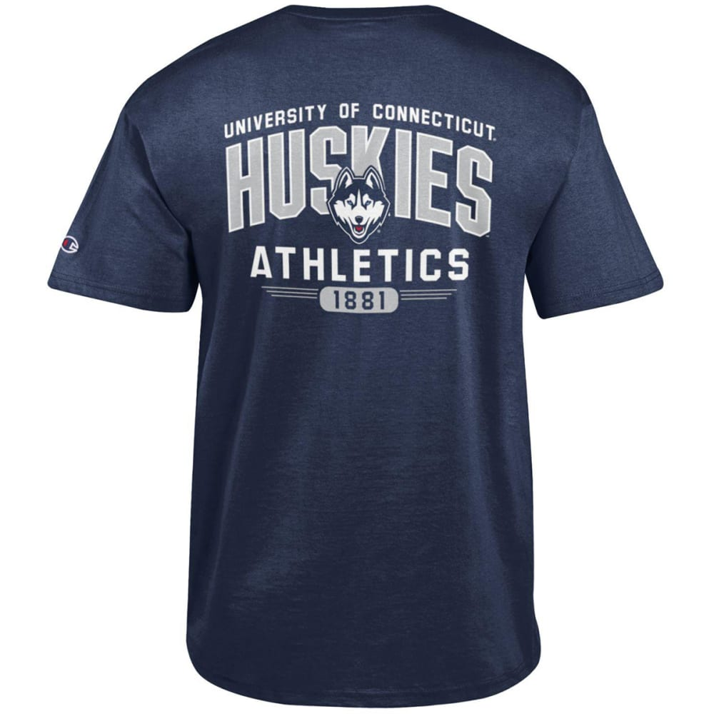 CHAMPION Men's UConn Big Soft Dual Blend Short-Sleeve Tee, Navy - NAVY