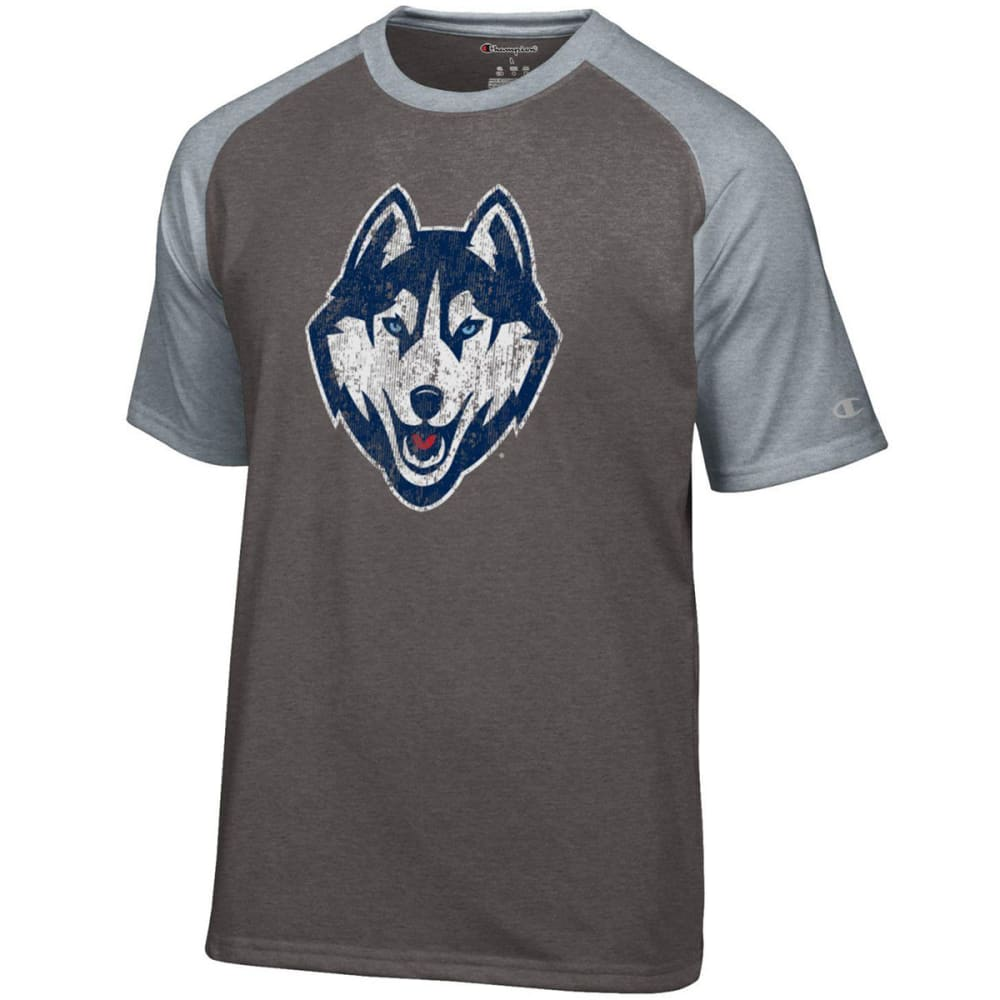 CHAMPION Men's UConn Big Soft Dual Blend Heathered Short-Sleeve Tee - HEATHER GRANITE