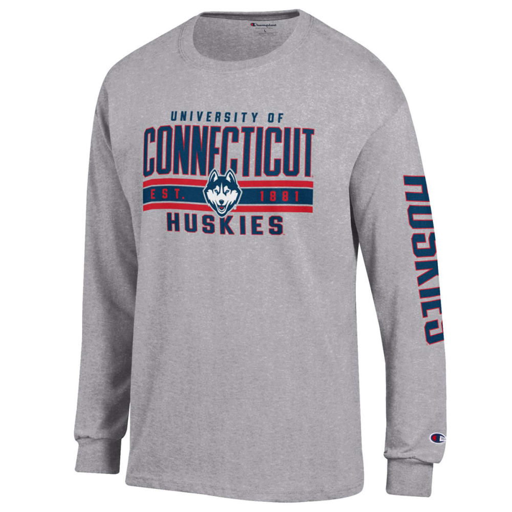 CHAMPION Men's UConn Jersey Long-Sleeve Tee - HEATHER GREY