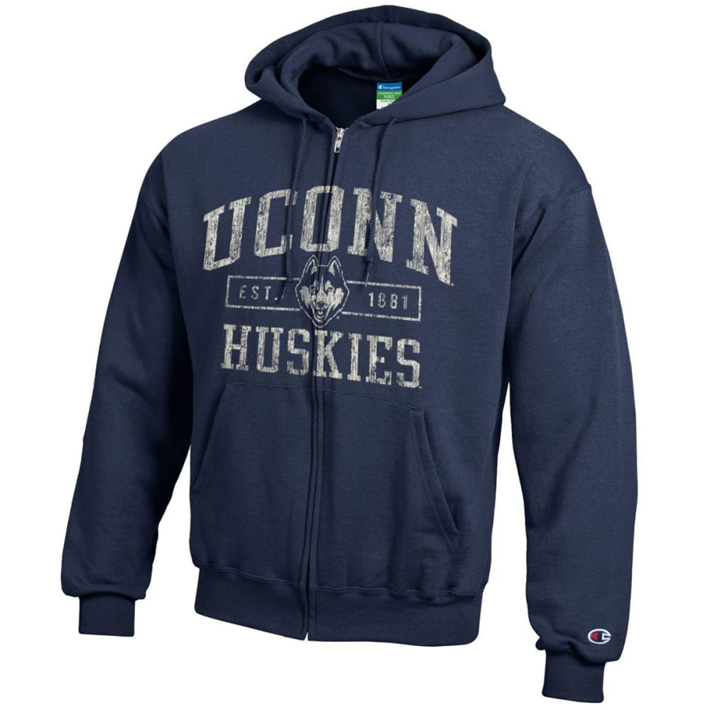 Champion Men's Uconn Eco Powerblend Full-Zip Hoodie - Blue, L