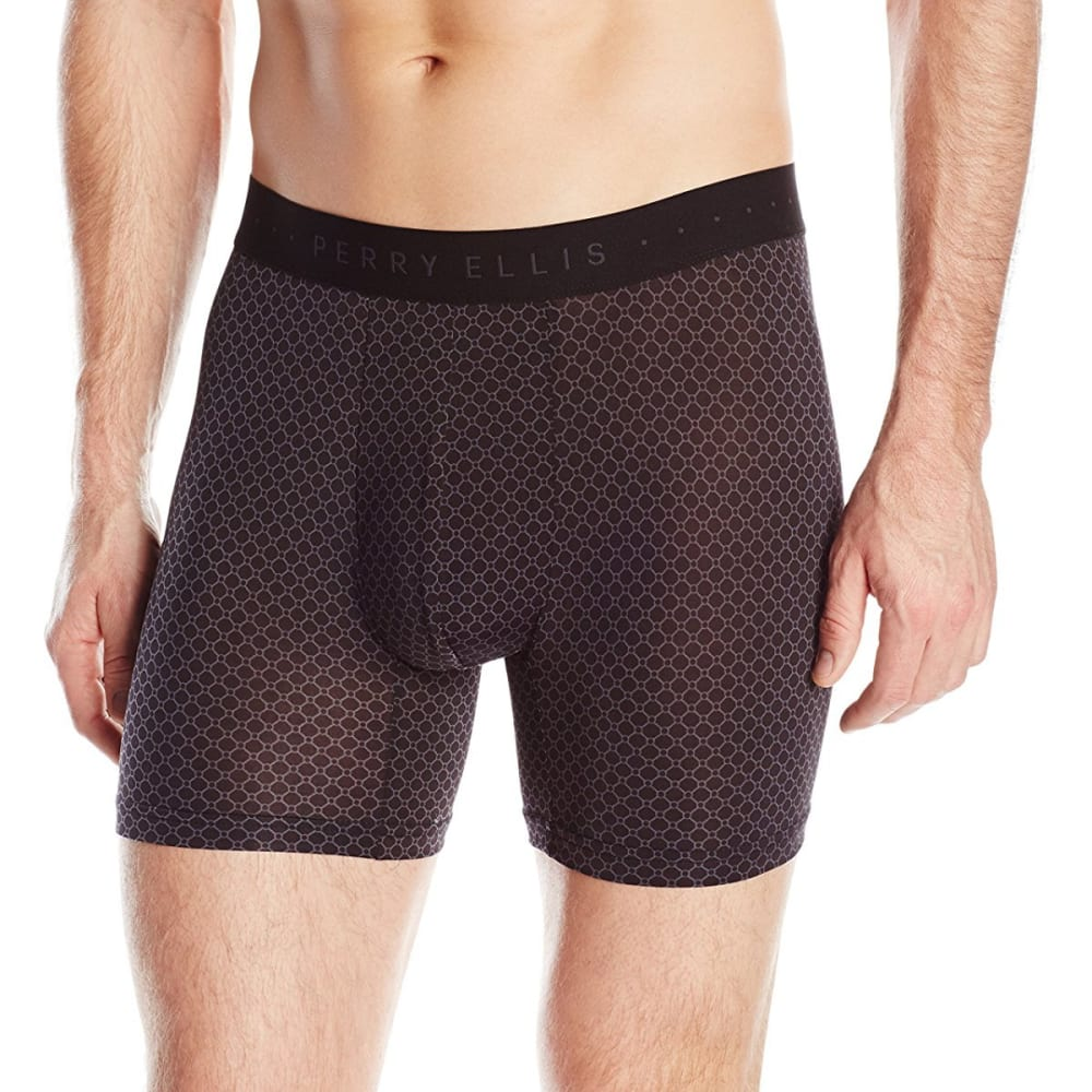 PERRY ELLIS Men's Neat Print Boxer Brief - BLACK/EBONY 001