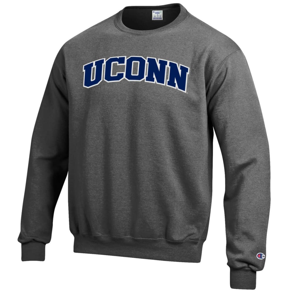 CHAMPION Men's UConn Eco Powerblend Crew Sweatshirt - GRANITE