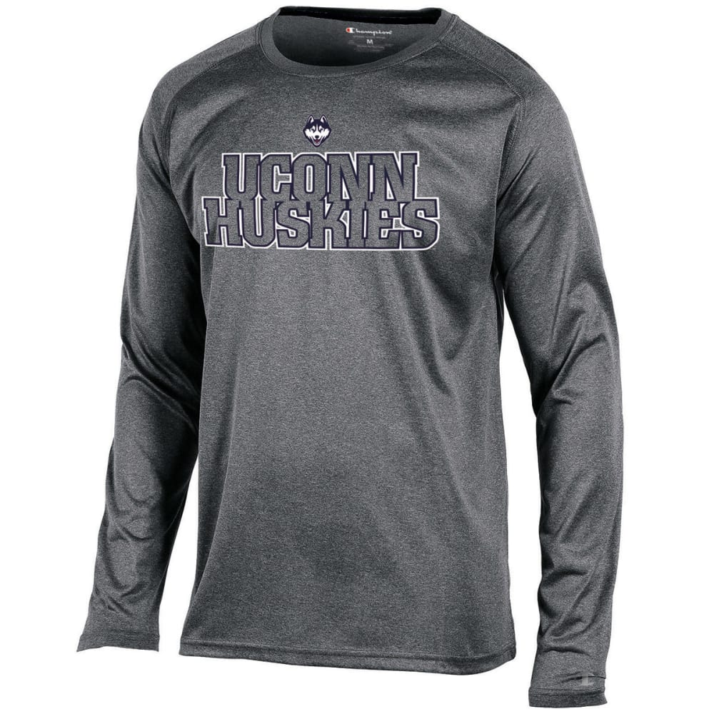 CHAMPION Men's UConn Poly Long-Sleeve Tee - HEATHER GREY