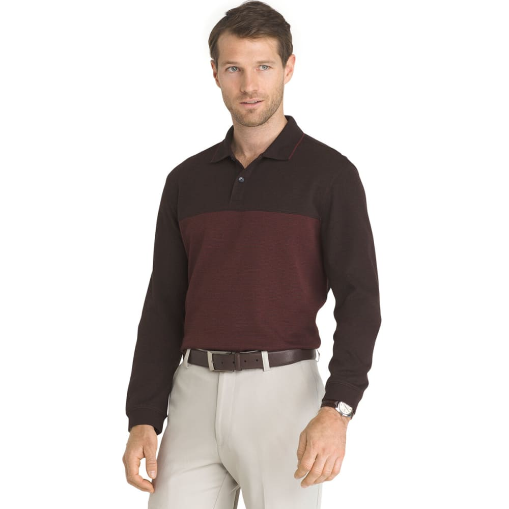 Van Heusen Men's Jaspe Long-Sleeve Polo Shirt - Red, XXL