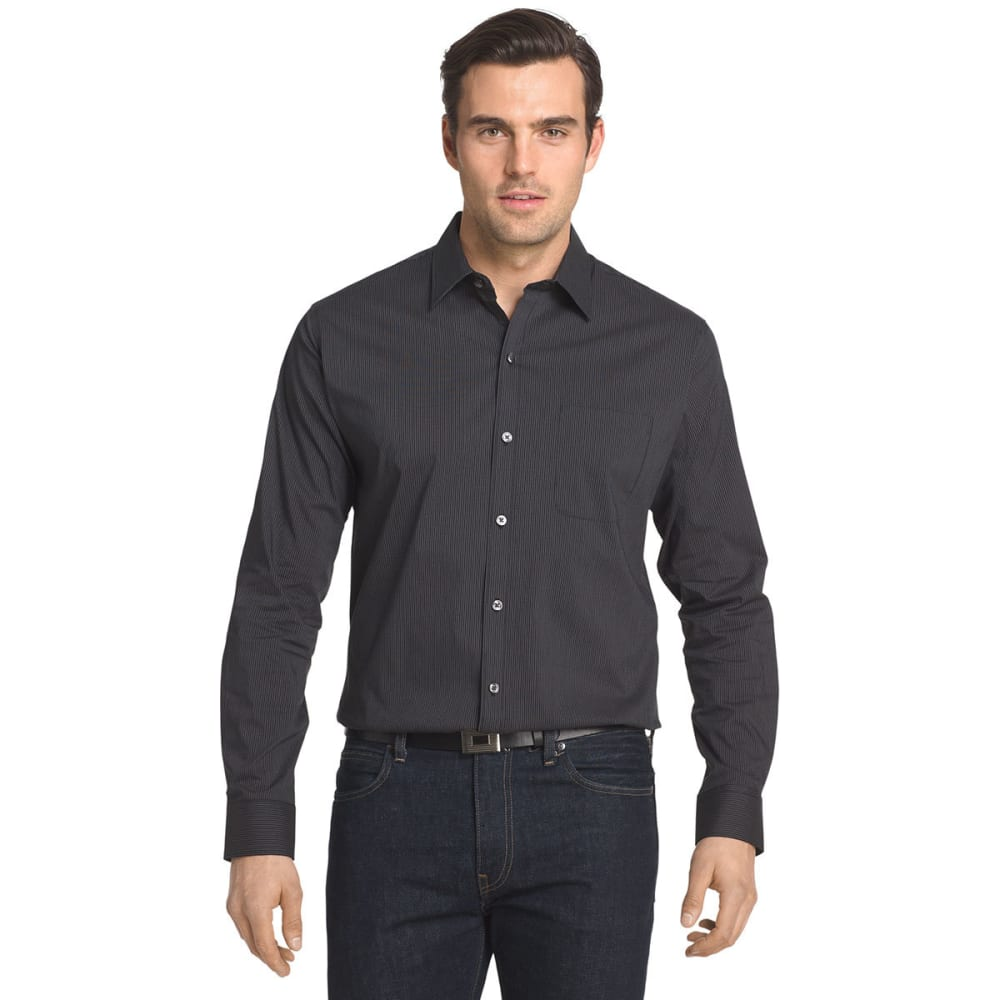 Van Heusen Men's Traveler Stretch Stripe Long-Sleeve Shirt - Black, XL