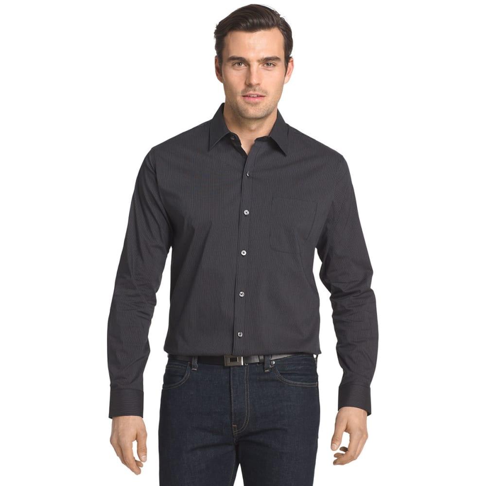 VAN HEUSEN Men's Traveler Stretch Stripe Long-Sleeve Shirt - BLACK STRIPE-001