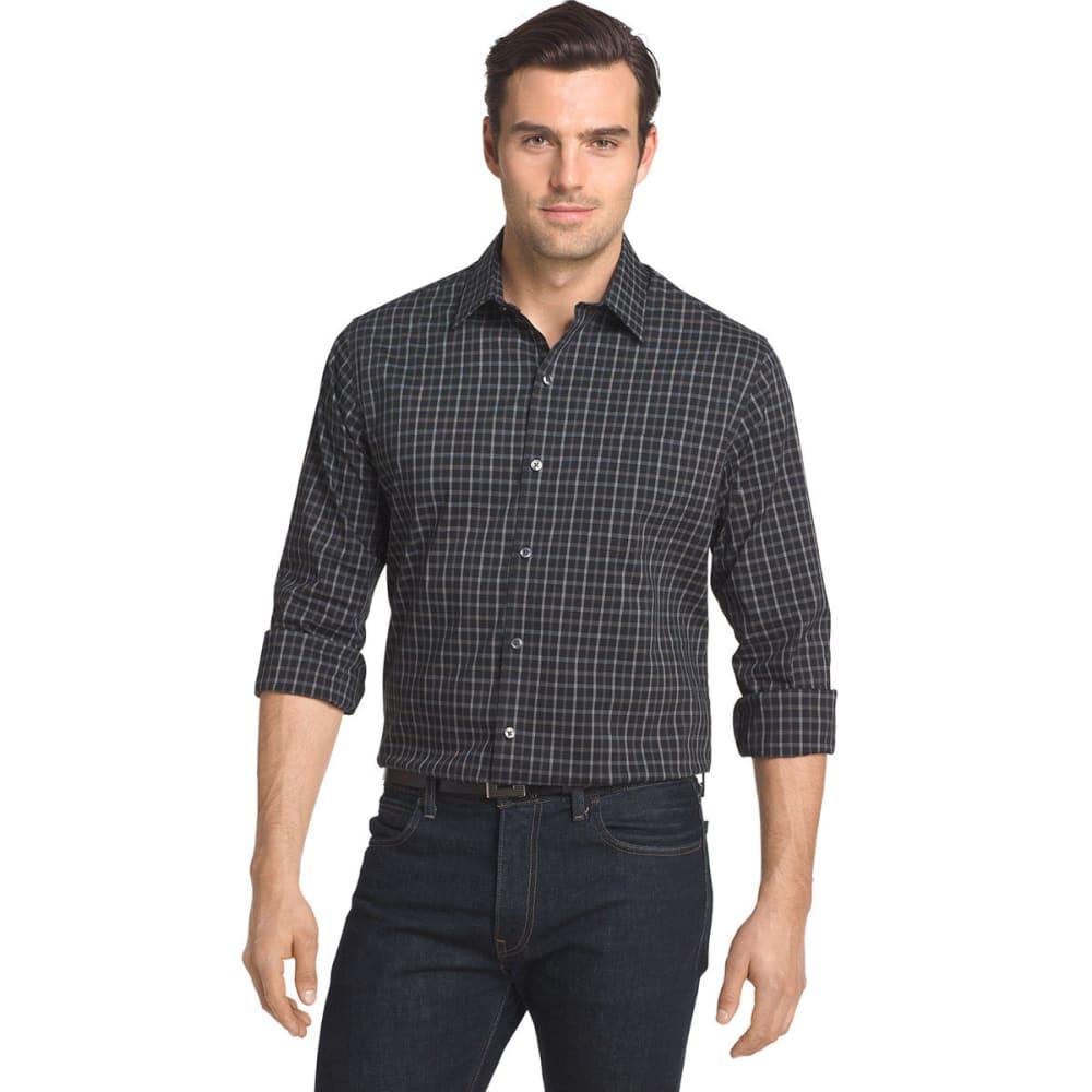 VAN HEUSEN Men's Traveler Plaid Stretch Woven Shirt - BLACK PLAID-001