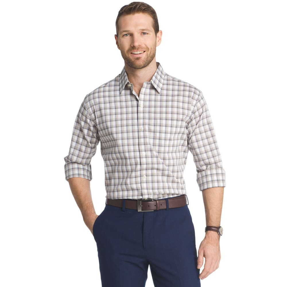 VAN HEUSEN Men's Traveler Stretch Plaid Long-Sleeve Shirt - KHA PLAID-267