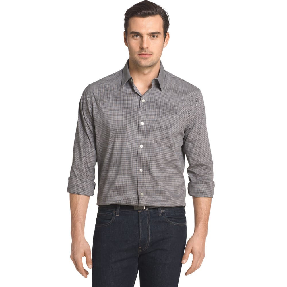VAN HEUSEN Men's Traveler Stretch Grid Long-Sleeve Shirt - KHA ALUM GRID-265