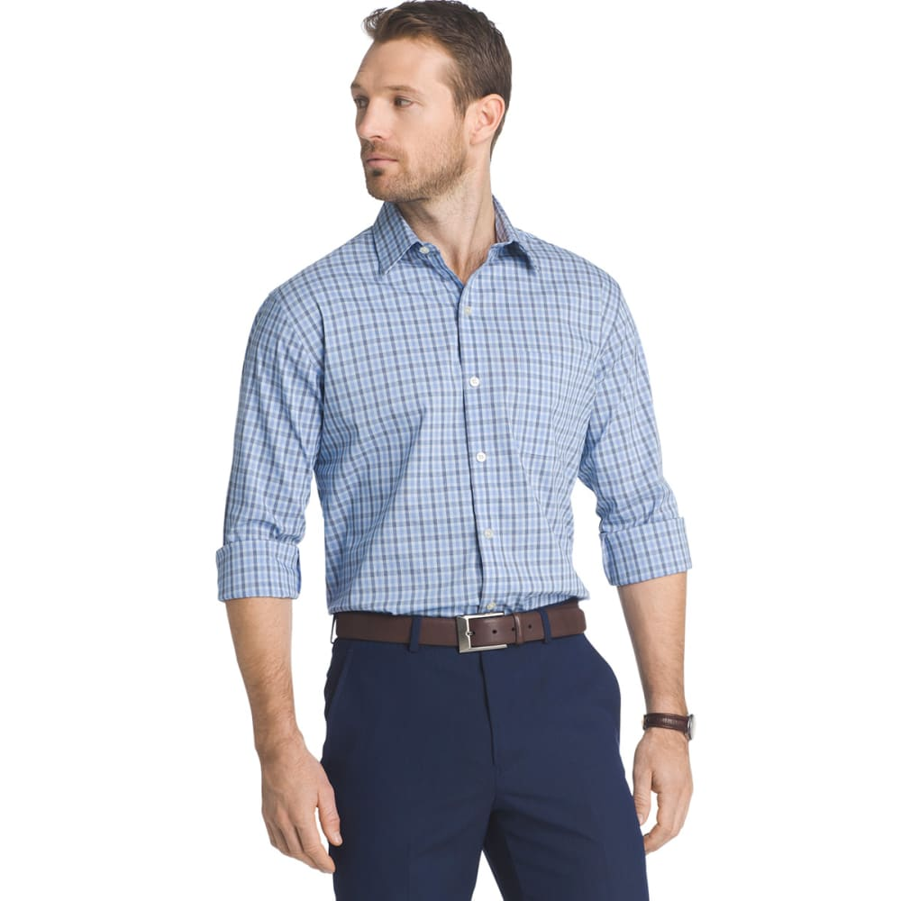 VAN HEUSEN Men's Traveler Plaid Stretch Woven Shirt - BLU CLEAR AIR-457