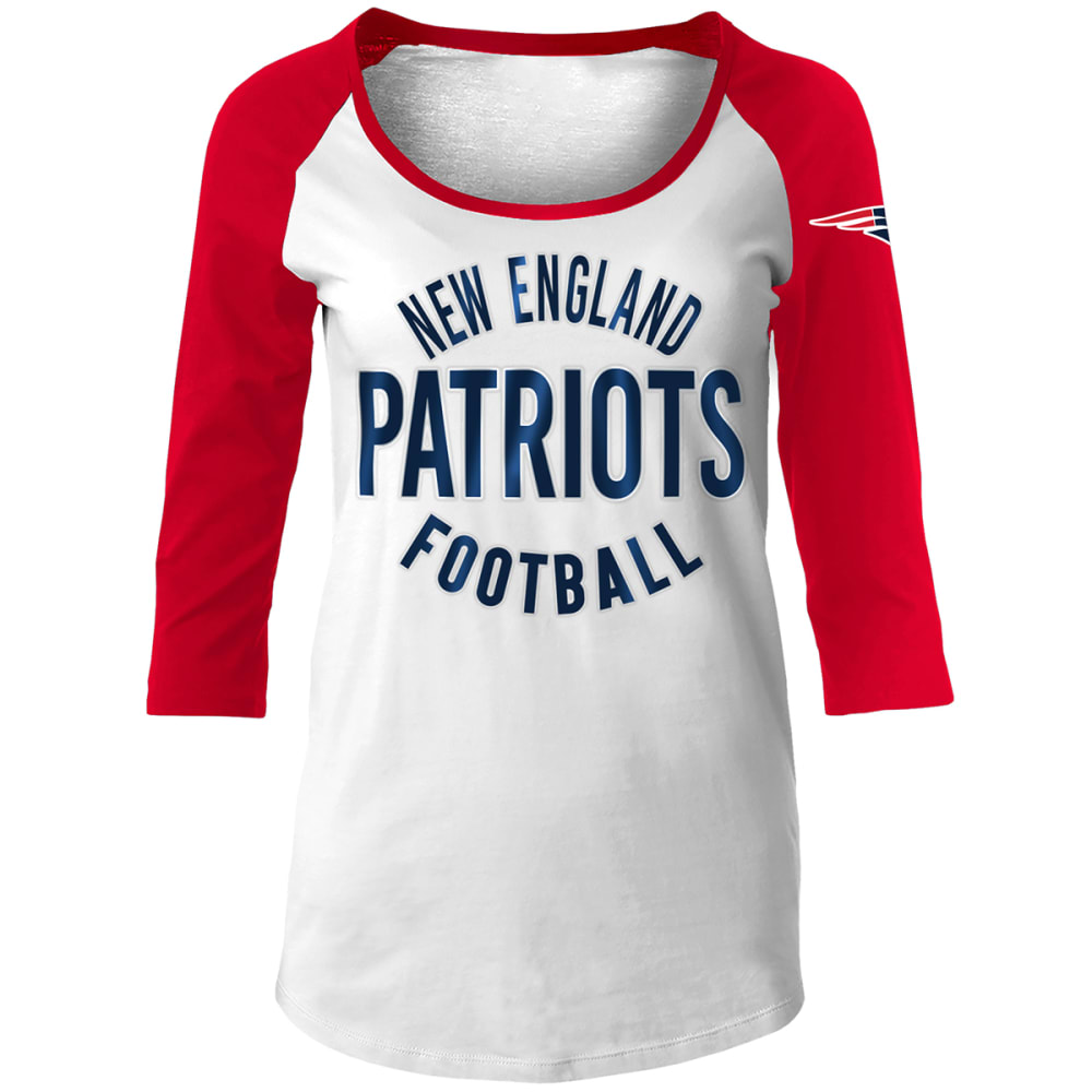New England Patriots Women's Scoop Neck  3/4 Raglan Sleeve Tee - White, M