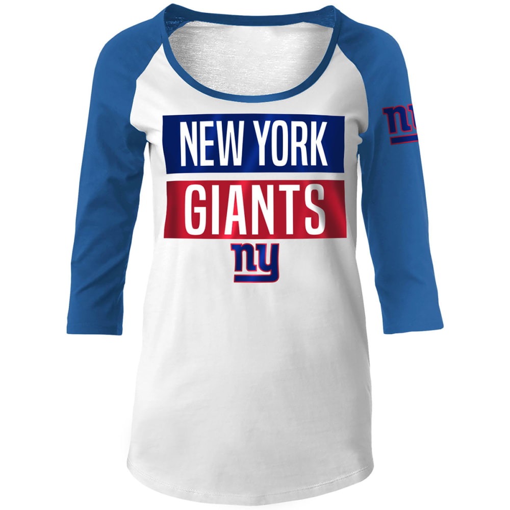 NEW YORK GIANTS Women's Scoop Neck ¾ Raglan Sleeve Tee - WHITE