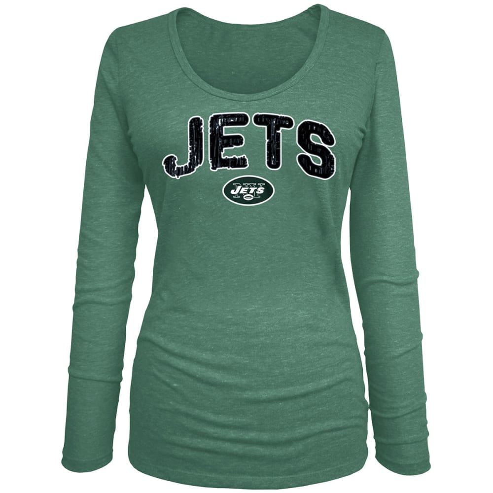 NEW YORK JETS Women's Tri-Blend Scoop Neck Long-Sleeve Tee - GREEN