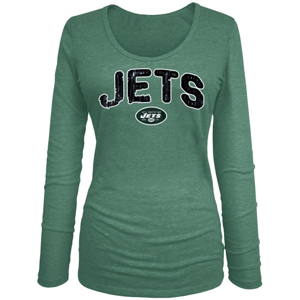 NEW YORK JETS Women's Tri-Blend Scoop Neck Long-Sleeve Tee - GREEN