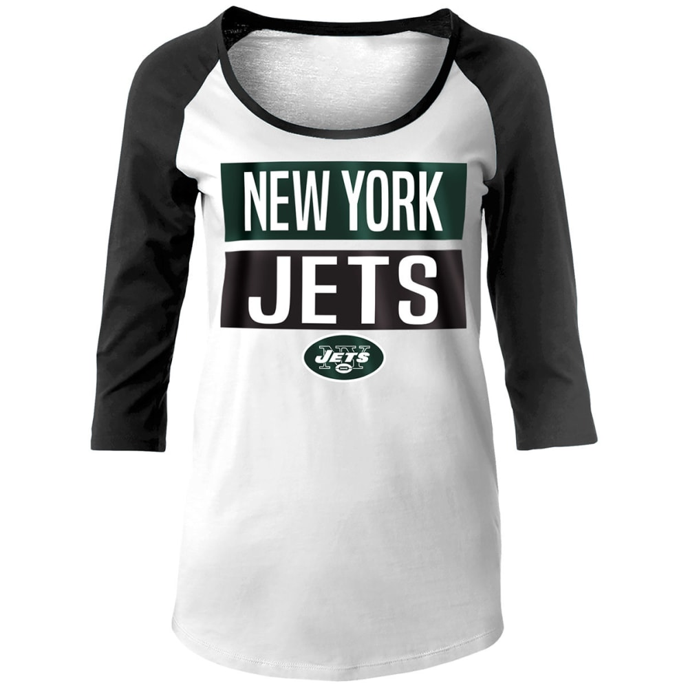 NEW YORK JETS Women's Baby Jersey Scoop Neck ¾ Raglan Sleeve Tee - WHITE