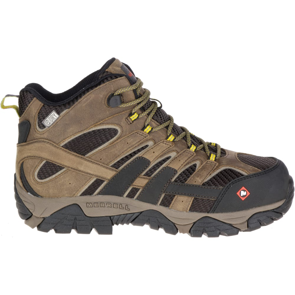 MERRELL Men's Moab 2 Vent Mid Waterproof Comp Toe Work Boots - BOULDER