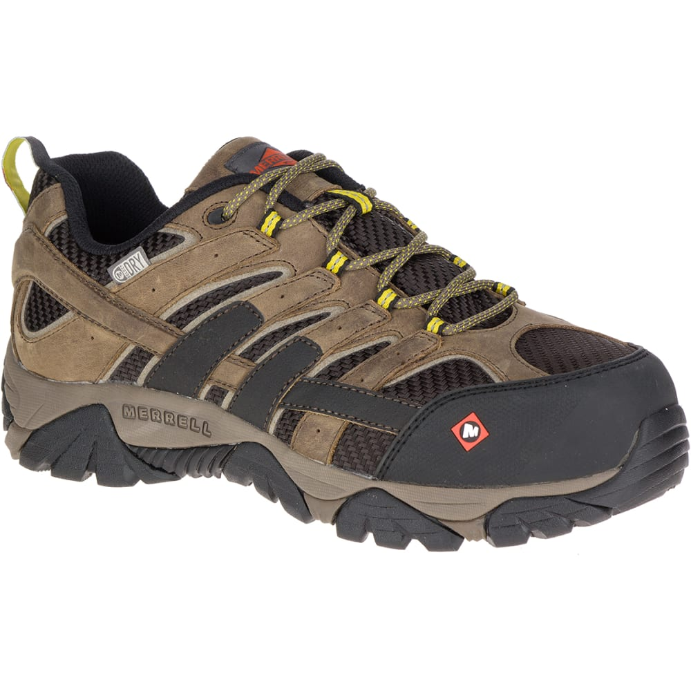 MERRELL Men's Moab 2 Vent Waterproof Composite Toe Work Shoes, Boulder Light Brown - BOULDER LT BRN