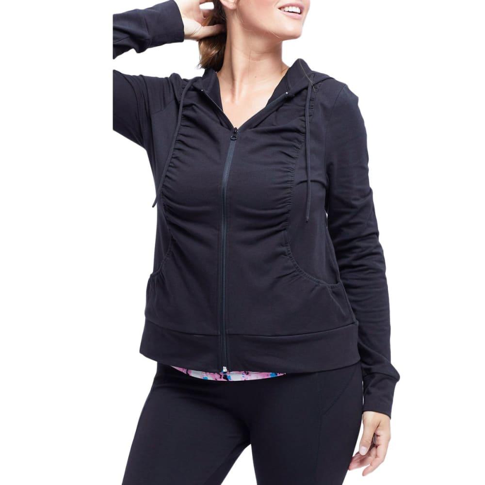 MARIKA Women's Ruched Hoodie Jacket - BLACK-001