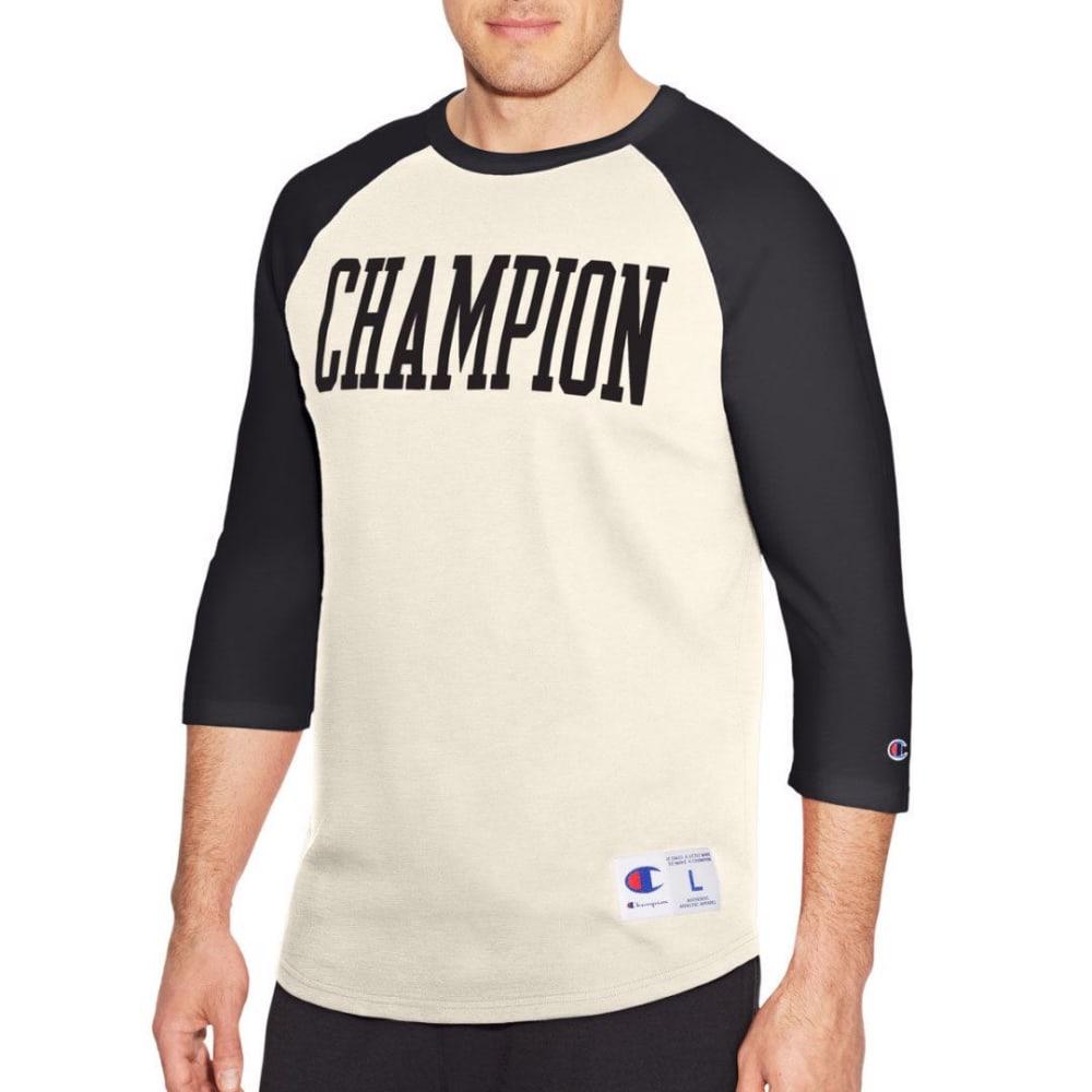 CHAMPION Men's Heritage Baseball Slub Tee - WHT/GRY-X0X