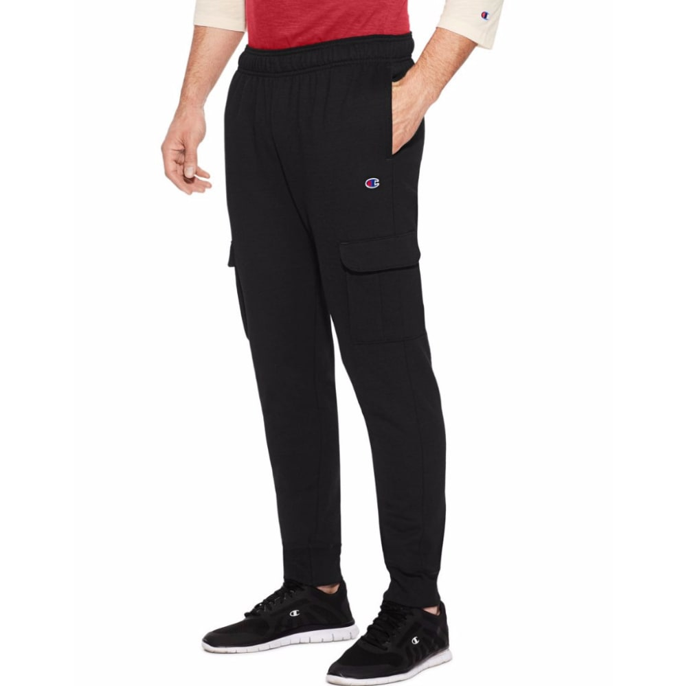 CHAMPION Men's Powerblend® Fleece Cargo Jogger - BLACK-003