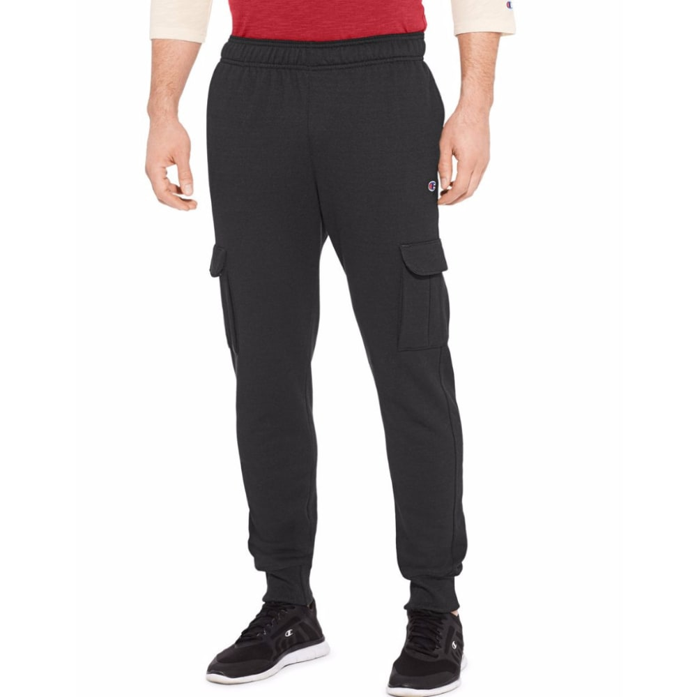 Champion Men's Powerblend(R) Fleece Cargo Jogger - Black, M