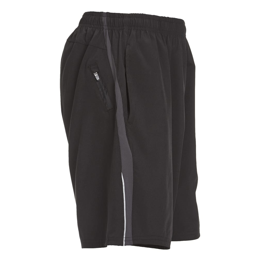BOLLINGER Men's Woven Training Shorts with Zip Pocket - BLACK/SILVER GREY