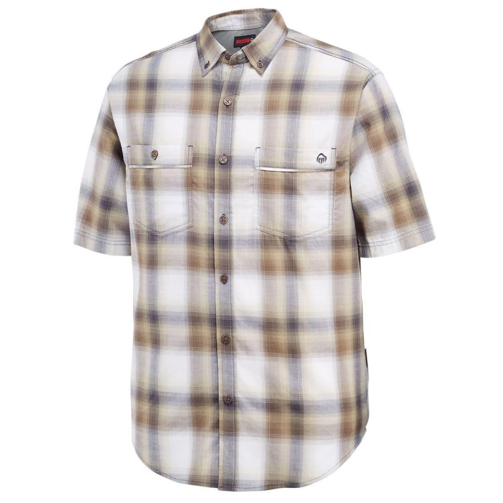 WOLVERINE Men's Springsport Plaid Short-Sleeve Shirt - 201 GRAVEL /CREAM L