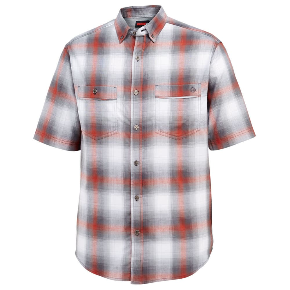 WOLVERINE Men's Springsport Plaid Short-Sleeve Shirt - 615 BARN YARDRED/OLV