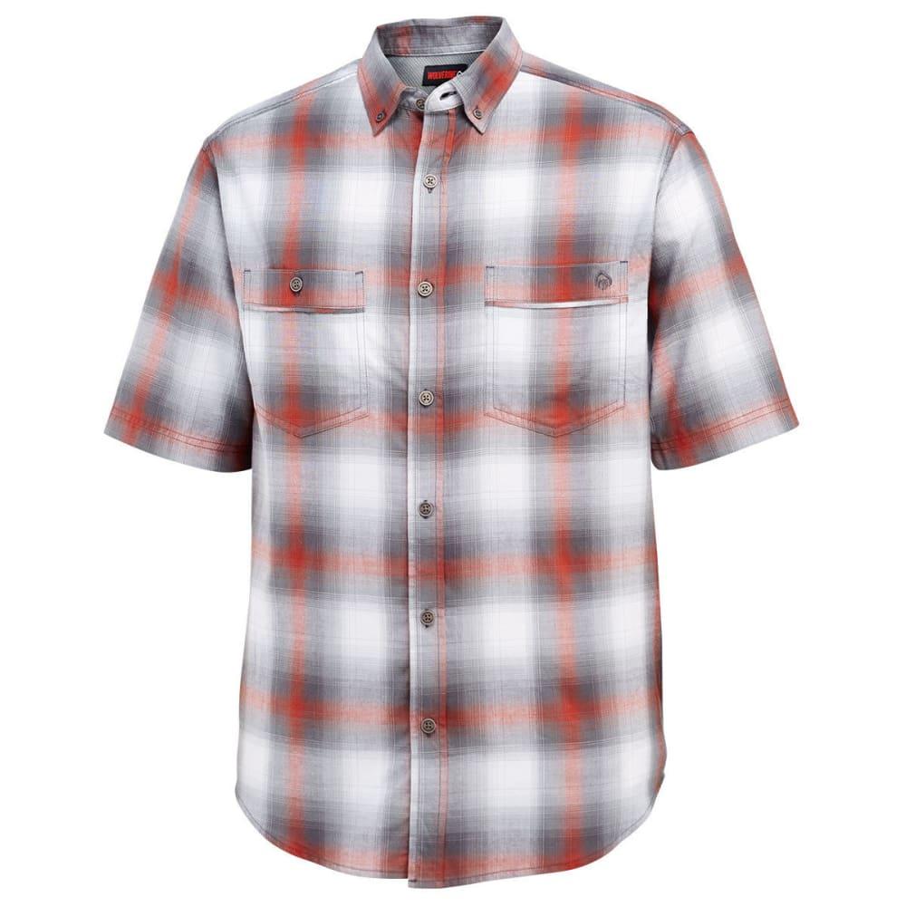 WOLVERINE Men's Springsport Plaid Short-Sleeve Shirt - 615 BARN YARDRED/OLV