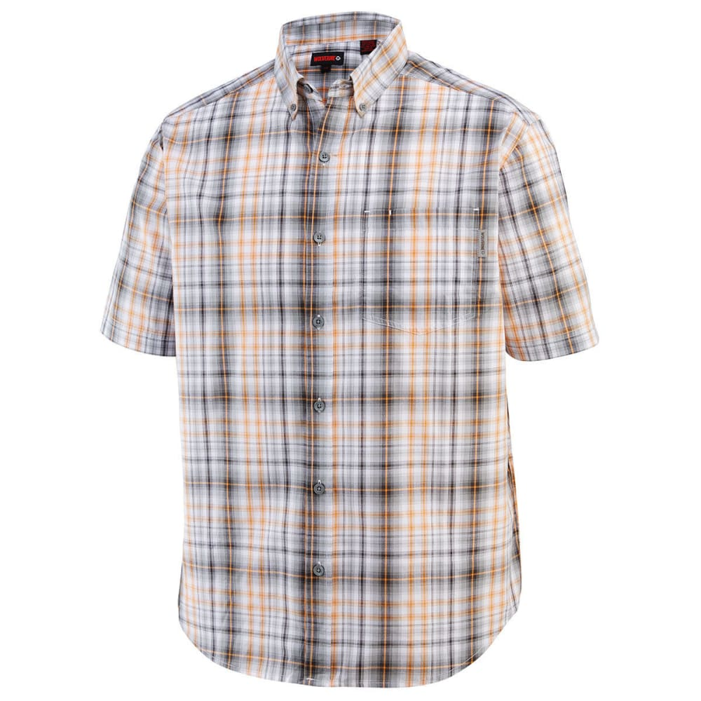 WOLVERINE Men's Mortar Plaid Short-Sleeve Shirt - 010 CHARCOAL PLAID
