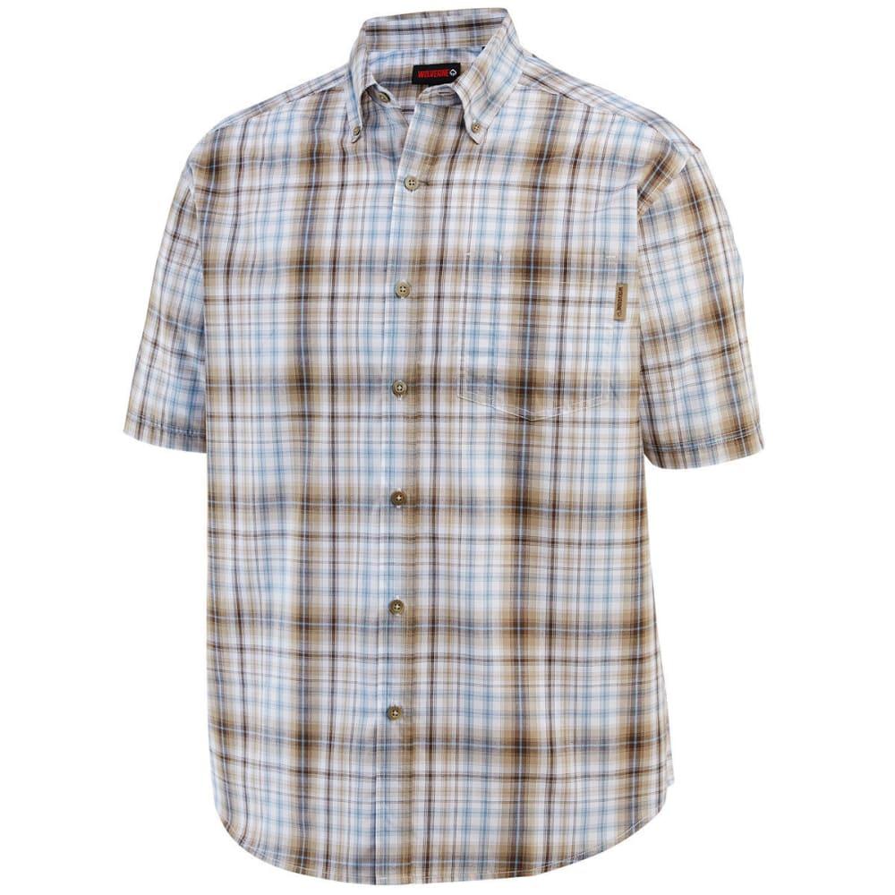 WOLVERINE Men's Mortar Plaid Short-Sleeve Shirt - 201 GRAVEL PLAID