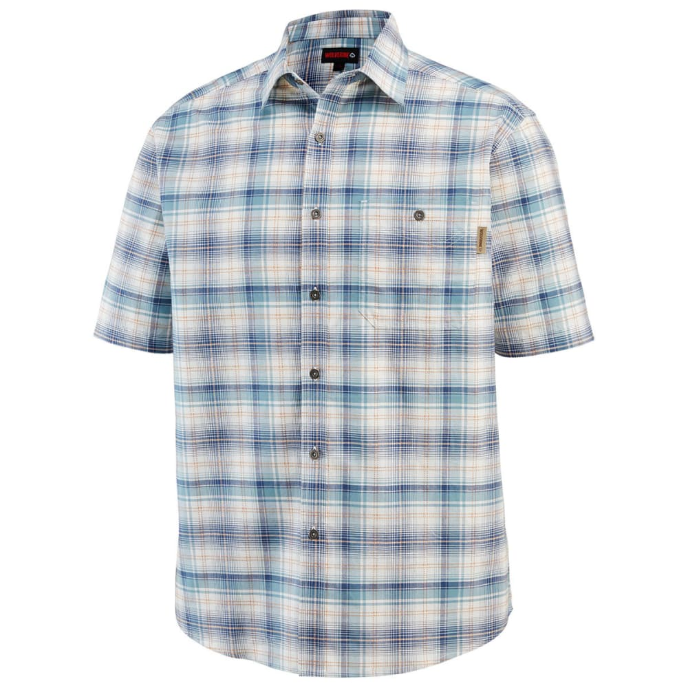 WOLVERINE Men's Boswick Short-Sleeve Shirt - 435 CADET BLUE PLAID