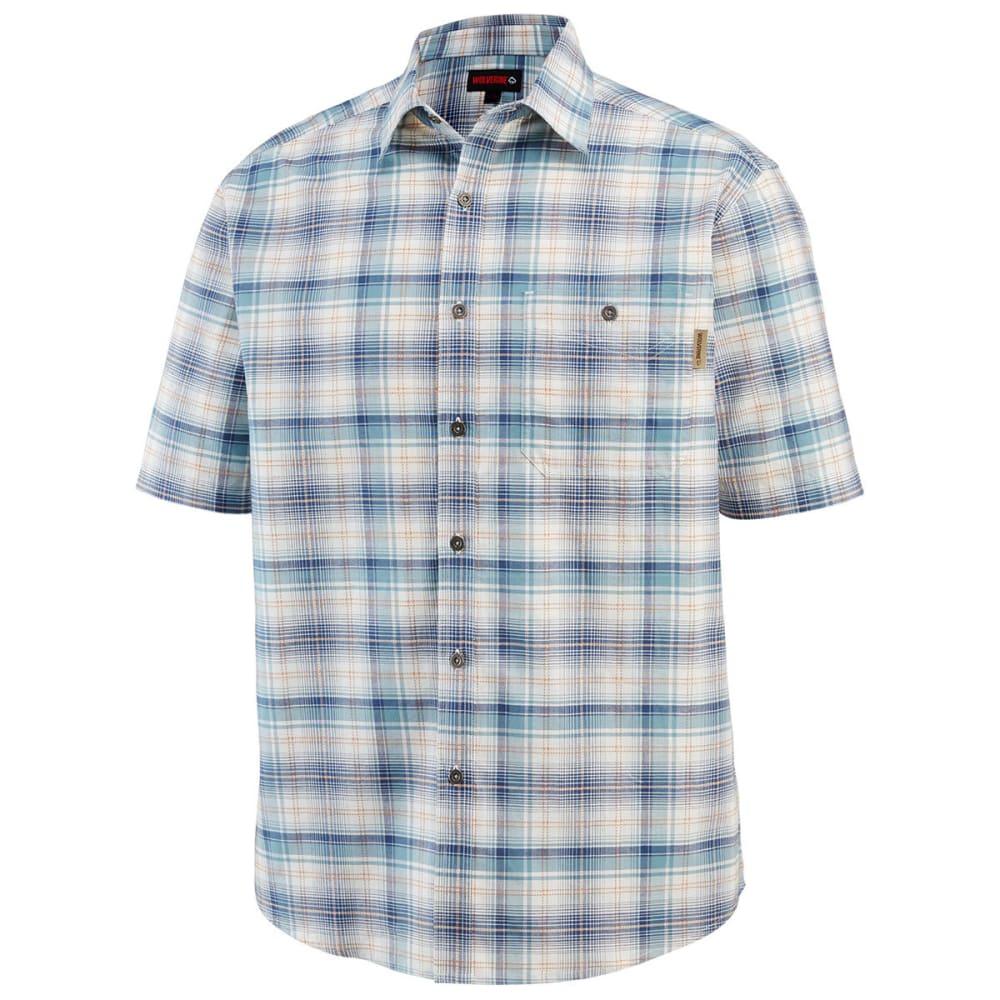 WOLVERINE Men's Boswick Short-Sleeve Shirt - 435 CADET BLUE PLAID