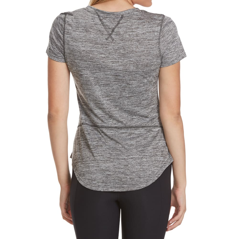 LAYER 8 Women's Poly Sueded Chunky Heather V-Neck Tee - CHARCOAL GREY HTR