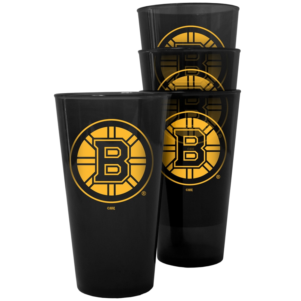 BOSTON BRUINS 16 oz. Plastic Pint Glasses, 4 Pack - NO COLOR