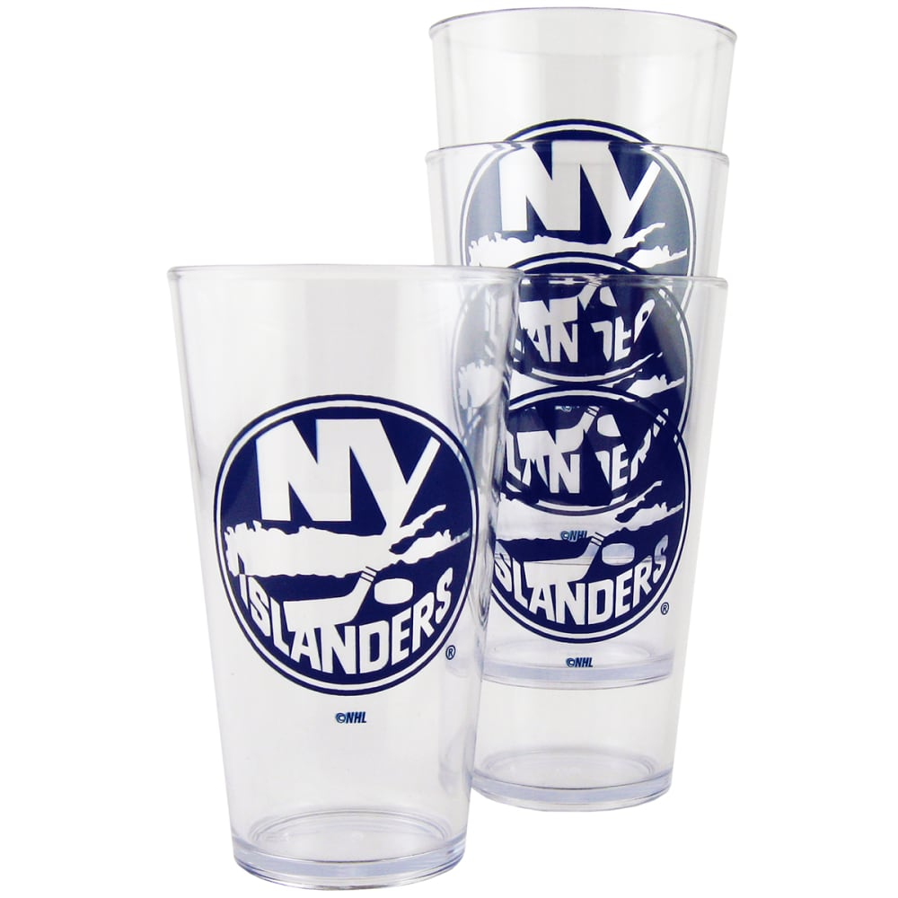 New York Islanders 16 Oz. Plastic Pint Glasses, 4 Pack