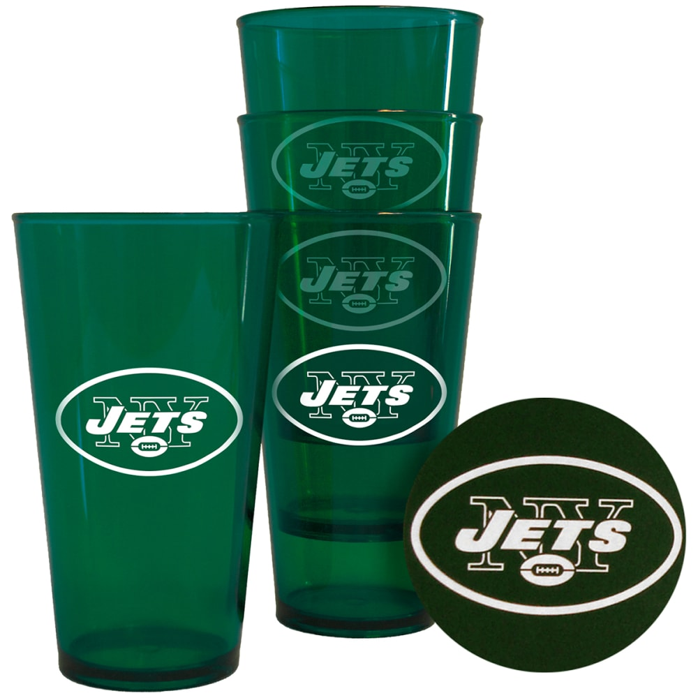 NEW YORK JETS 16 oz. Plastic Pint Glasses, 4 Pack - NO COLOR
