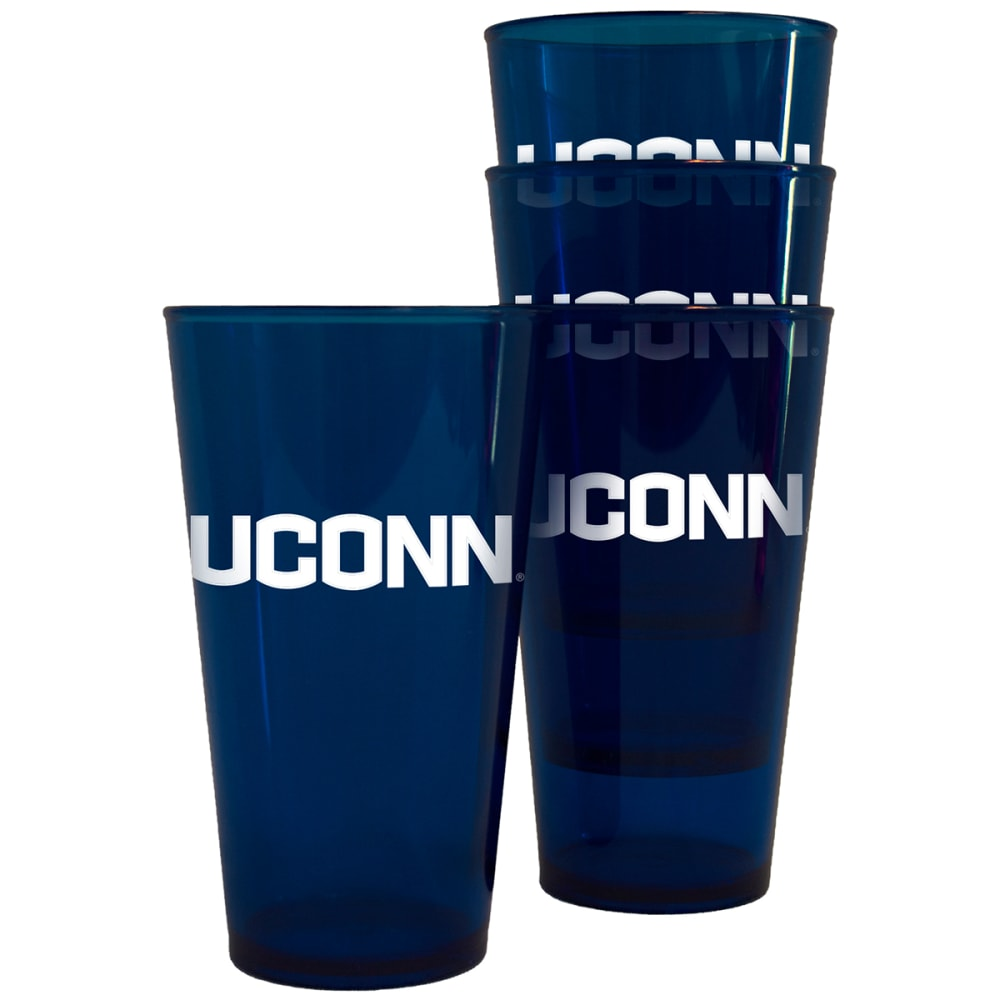 Uconn 16 Oz. Plastic Pint Glasses, 4 Pack