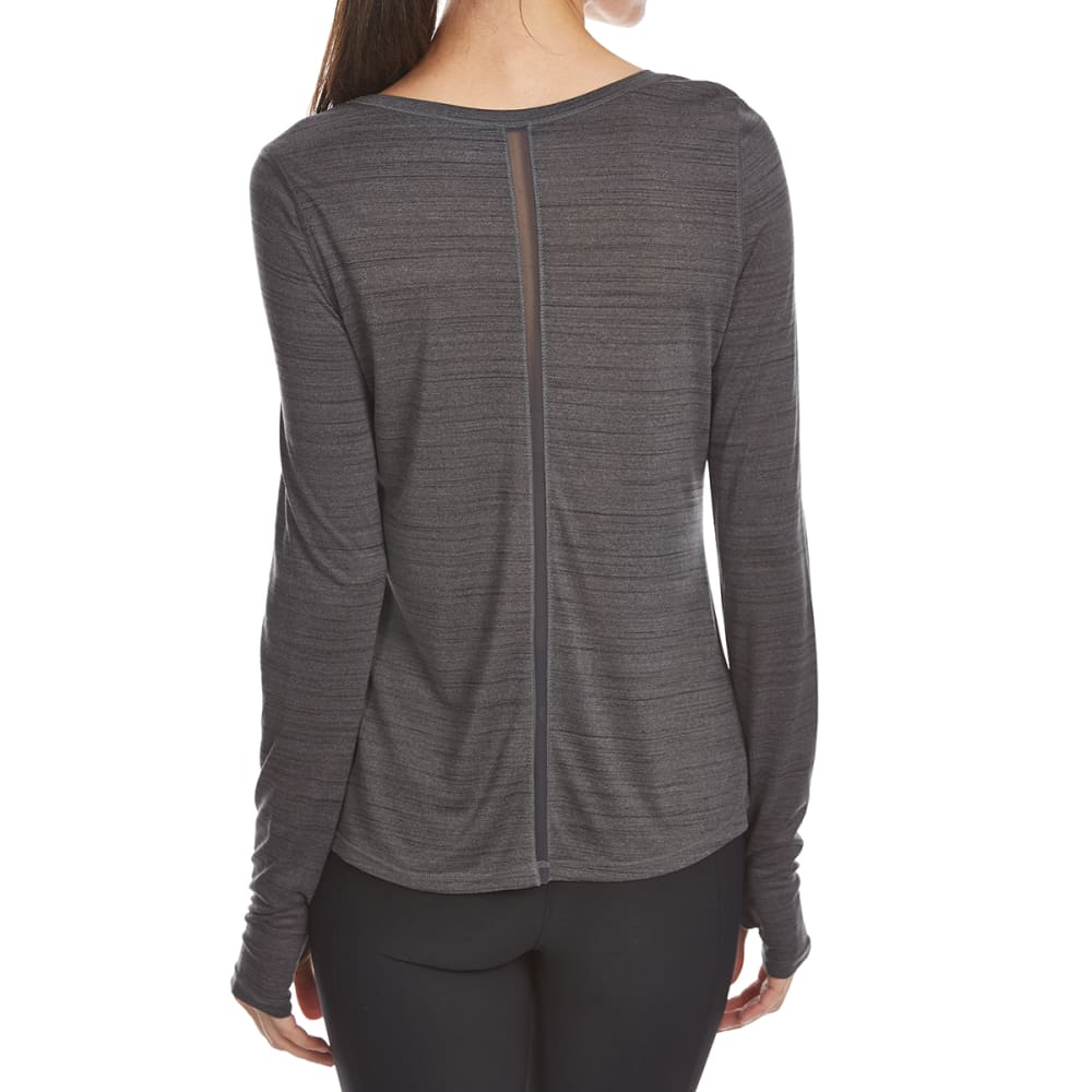 LAYER 8 Women's Poly Heather Stripe Long-Sleeve Active Top - CHARCOAL GREY HTR