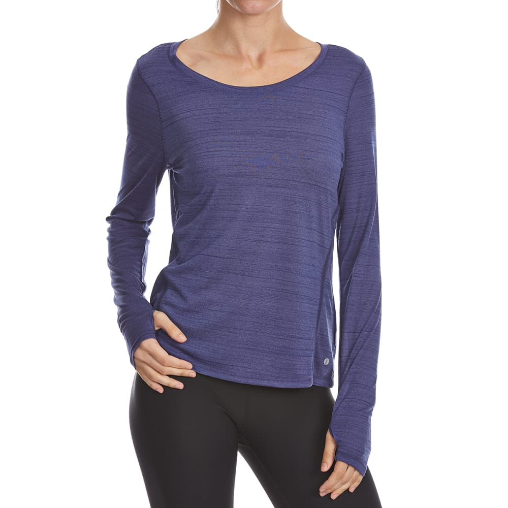 LAYER 8 Women's Poly Heather Stripe Long-Sleeve Active Top - SKIPPER BLUE