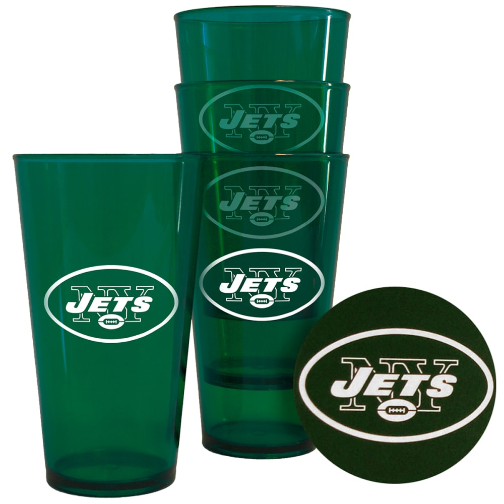 NEW YORK JETS 16 oz. Plastic Pint Glasses, 4 Pack - NO COLOR