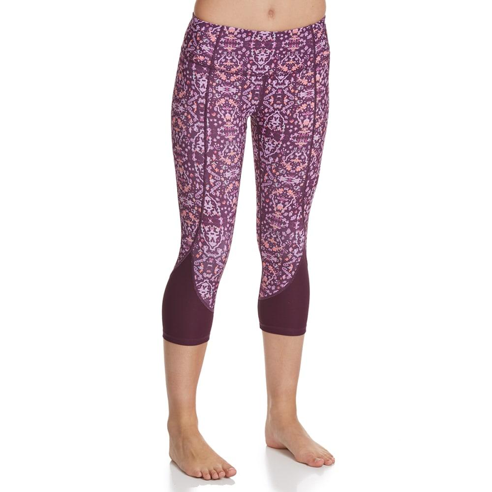 APANA Women's Printed Capri Leggings - PLUM COMBO
