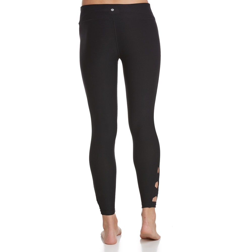 APANA Women's Striated Crisscross Detail Leggings - RICH BLACK
